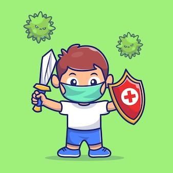 Kid fight corona virus illustration. corona maskottchen zeichentrickfigur. menschen konzept isoliert