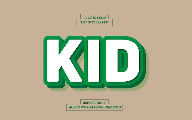 Kid green bold text style-effekt