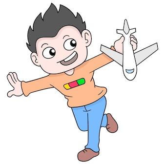 Kid strebt danach, um die welt zu reisen, um ein flugzeugpilot zu werden, vektorillustrationskunst. doodle symbolbild kawaii.