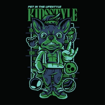 Kid style chihuahua hoodie illustration