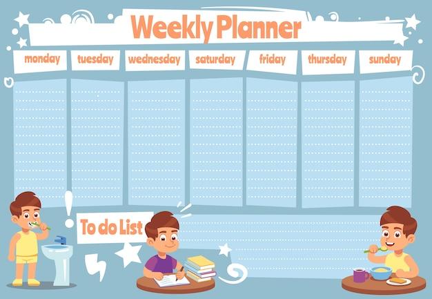 Kid wochenplaner. kinder niedliche kalenderwochen für liste notizen der schule zeitplan aufkleber duschen tägliche vorlage zu tun