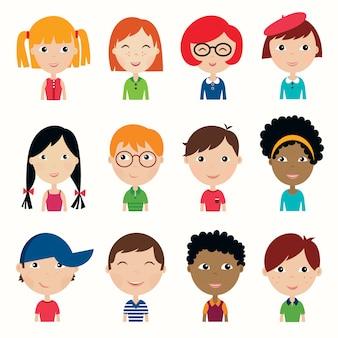 Kids faces collection satz von zwölf multiethnischen kindergesichtern