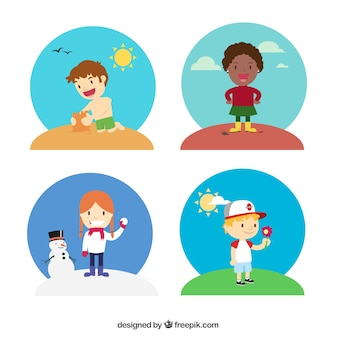 Kids in verschiedenen jahreszeiten