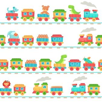 Kids spielzeugeisenbahn muster. kindereisenbahnspielwaren, babyzugtransport auf schienen und kindereisenbahn nahtlos