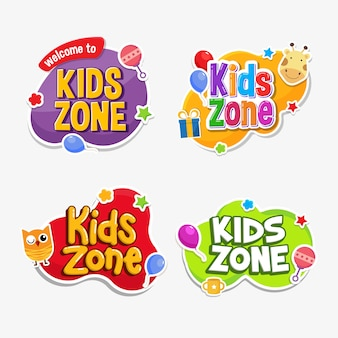 Kids zone label text aufkleber kindisch abzeichen