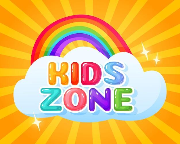 Kids zone logo playroom banner mit niedlicher regenbogen- und wolkenillustration