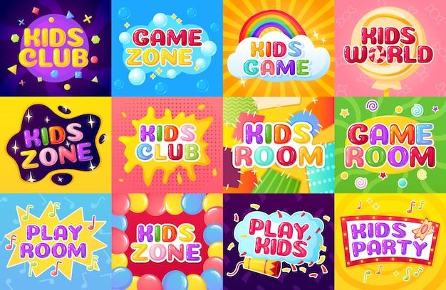 Kids zone playroom logo buntes etikett mit luftballons konfetti regenbogen childish spielplatz banner