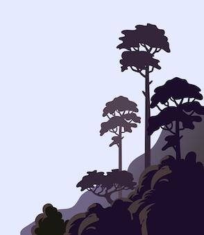 Kiefer auf einer felsigen klippe mit hohen bäumen