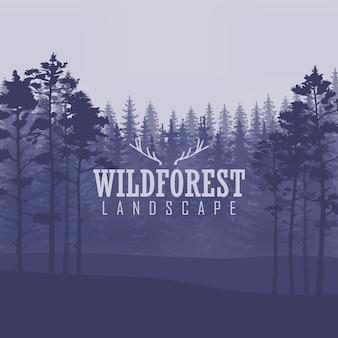 Kiefer, landschaftsnatur, hölzernes natürliches panorama. outdoor-camping-design-vorlage.