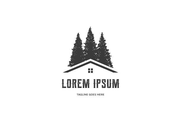 Kiefer-zeder-fichte-zypresse-baum-waldhaus-kabine-immobilien-logo-design-vektor