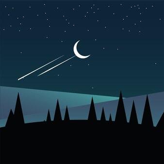 Kiefern auf berg und himmel mit sternenentwurf, landschaftsnaturumgebung und im freienthema