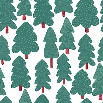 Kiefern nahtloses muster. doodle waldlandschaft hintergrund. einfacher stil. design für stoff, textildruck, geschenkpapier, kindertextilien. vektor-illustration