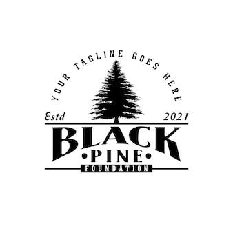 Kiefern- oder tannenbaum-logo-weihnachtskiefer-landschafts-logo-design