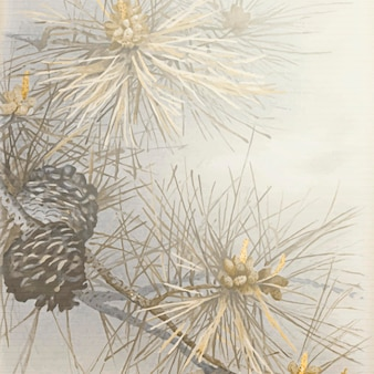 Kiefern- und nadelbaumzapfen auf grauem hintergrund gemustert