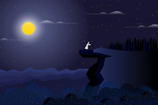 Kiefernwald auf nachtgipfel des berges mit nächtlichem himmel