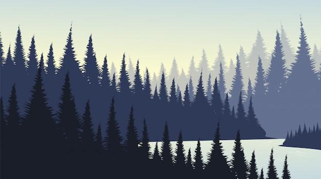 Kiefernwald mit fluss, landschaftshintergrund
