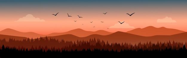 Kiefernwaldlandschaft mit berg im hintergrund