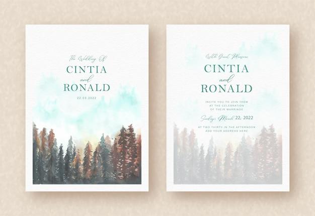 Kiefernwaldmalereihintergrund auf einladungskarte