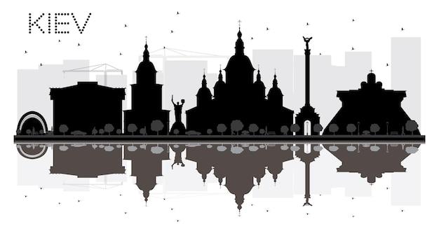 Kiew city skyline schwarz-weiß-silhouette mit reflexionen. vektor-illustration. einfaches flaches konzept für tourismuspräsentation, banner, plakat oder website. stadtbild mit wahrzeichen.