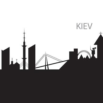 Kiew city skyline schwarz-weiß-silhouette. vektor-illustration