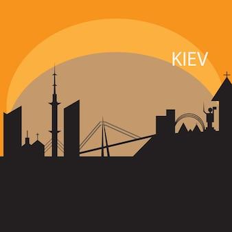 Kiew-skyline im orangefarbenen hintergrund in bearbeitbarer vektordatei