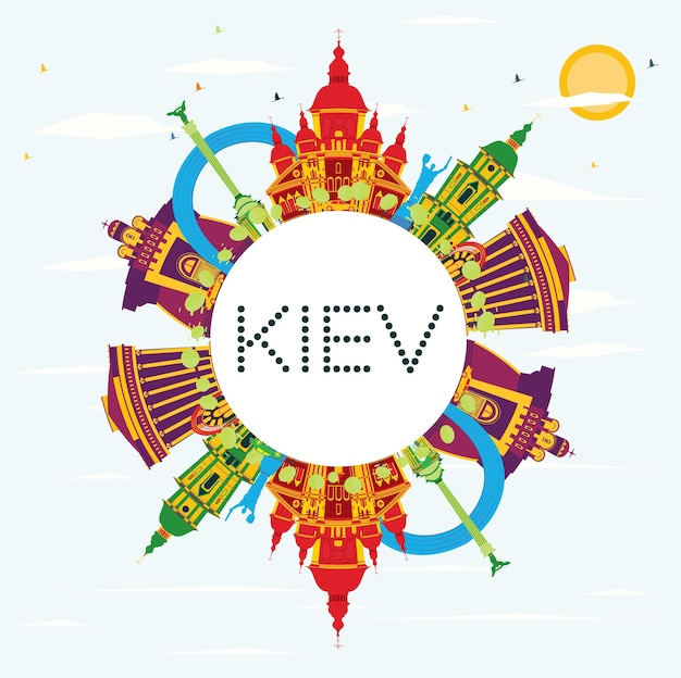 Kiew-skyline mit farbgebäuden, blauem himmel und kopienraum. vektor-illustration. geschäftsreise- und tourismuskonzept mit historischer architektur. bild für präsentationsbanner-plakat und website.