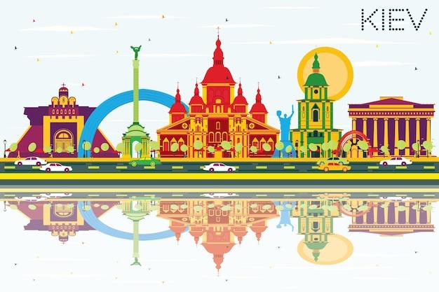 Kiew-skyline mit farbgebäuden, blauem himmel und reflexionen. vektor-illustration. geschäftsreise- und tourismuskonzept mit historischer architektur. bild für präsentationsbanner-plakat und website.