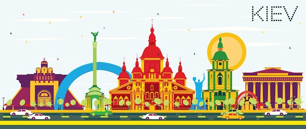 Kiew-skyline mit farbgebäuden und blauem himmel. vektor-illustration. geschäftsreise- und tourismuskonzept mit historischer architektur. bild für präsentationsbanner-plakat und website.