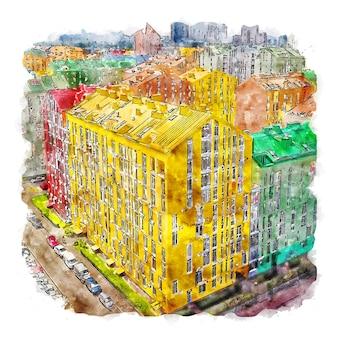 Kiew stadt ukraine aquarell skizze handgezeichnete illustration
