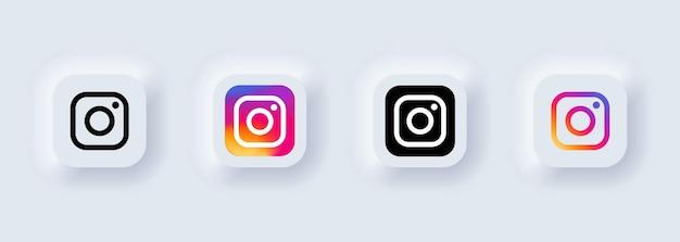 Kiew, ukraine - 22. februar 2021: satz von instagram-symbolen. social-media-symbole. realistisches set. neumorphe ui ux weiße benutzeroberfläche. neumorphismus-stil.