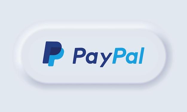 Kiew, ukraine - 30. märz 2021: paypal-logo. paypal-symbol. paypal ist ein internetbasierter digitaler geldtransferdienst. neumorphe ui ux weiße benutzeroberfläche. neumorphismus-stil. vektor-illustration