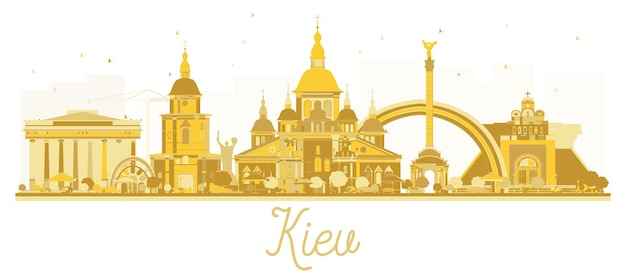 Kiew ukraine city skyline goldene silhouette. vektor-illustration. geschäftsreisekonzept. stadtbild von kiew mit sehenswürdigkeiten