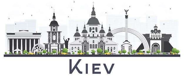 Kiew ukraine city skyline mit grauen gebäuden, isolated on white background. vektor-illustration. geschäftsreise- und tourismuskonzept. kiewer stadtbild mit sehenswürdigkeiten.