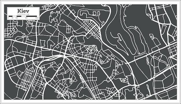 Kiew ukraine karte im retro-stil. vektor-illustration. übersichtskarte.