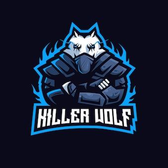 Killer wolf esport maskottchen logo Premium Vektoren