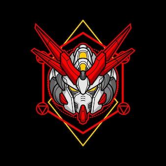 Killerroboterkopf mit heiliger geometrie 10