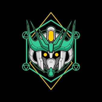 Killerroboterkopf mit heiliger geometrie 16