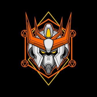 Killerroboterkopf mit heiliger geometrie 1