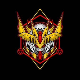 Killerroboterkopf mit heiliger geometrie 2