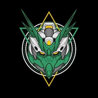 Killerroboterkopf mit heiliger geometrie 4