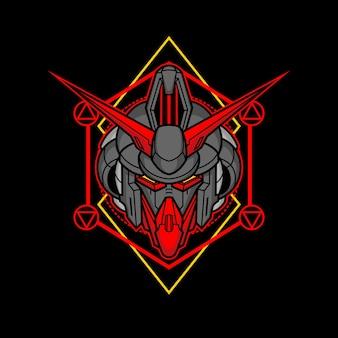 Killerroboterkopf mit heiliger geometrie 6