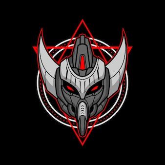 Killerroboterkopf mit heiliger geometrie 7