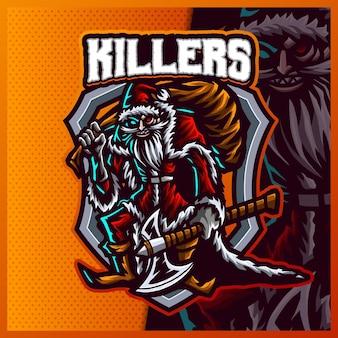 Killers santa mit äxten esport und sport maskottchen logo design.