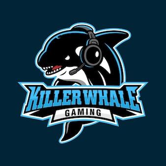 Killerwal für spielesportlogo, vektorillustration