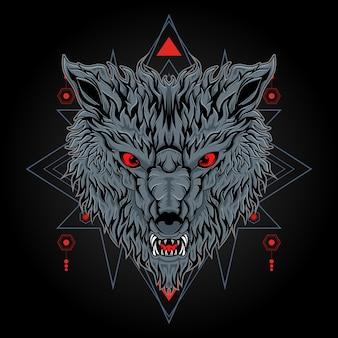 Killerwolf mit heiliger geometrie-illustration