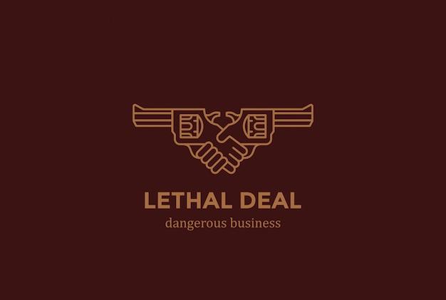 Killing vertrag gefährlicher deal handshake mit guns logo design vorlage linearen stil. gefahr killer hände schütteln logotype konzept symbol.