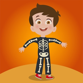 Kind als skelett verkleidet