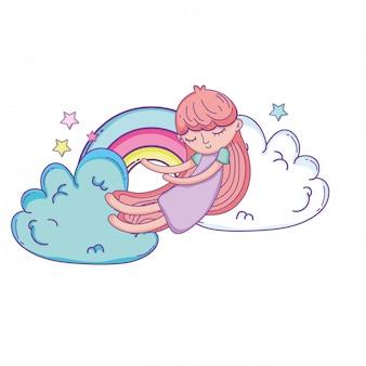 Kind auf Wolkenkarikatur