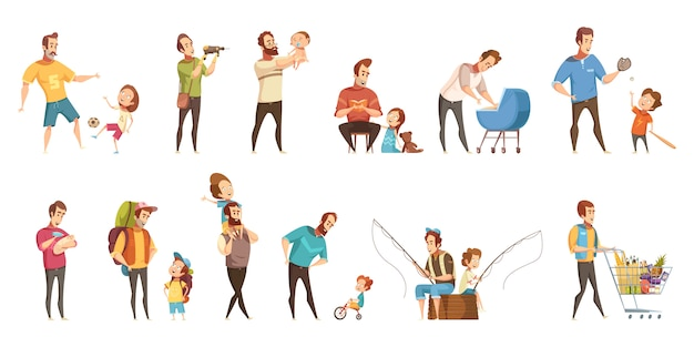 Kind-aufzuchteinkaufen der vaterschaft, das gehendes fischen mit retro- karikaturikonen der kinder 2 spielt, die eingestellte fahnen lokalisierten vektorillustration
