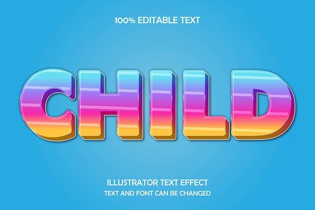 Kind, bearbeitbarer texteffekt moderner schattenstil